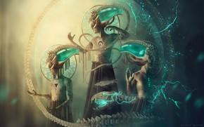 Обои фантазия, covenant, скелет змеи, трое, Carlos-Quevedo, фэнтэзи, магия, волшебство, демоны, призыв