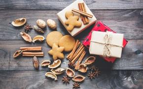 Картинка новый год, печенье, подарки, орехи, корица, выпечка
