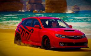Картинка Subaru, Impreza, Girl, Red, Impreza WRX, Subaru WRX STI