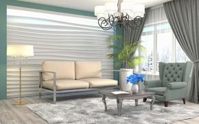 Обои цветок, дизайн, мебель, интерьер, люстра, гостиная