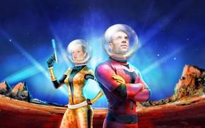 Картинка скалы, женщина, звёзды, мужчина, Space troopers