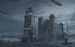 Картинка река, лодка, здания, Bridge