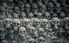Картинка фон, мрак, черепа