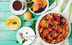 Картинка ягоды, лимон, чай, сладость, фрукты, выпечка, фруктовый пирог