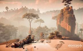 Картинка Природа, Девушка, Горы, Робот, Деревья, Мех, PS4 Pro, Horizon Zero Dawn, Элой, SonyPlaystation