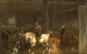 Картинка животные, дерево, лошадь, масло, собака, картина, Jozef Moerenhout, Конюшня