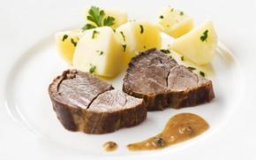 Картинка тарелка, мясо, картофель
