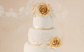 Картинка крем, свадьба, свадебный торт, многоэтажный торт, украшение цветами
