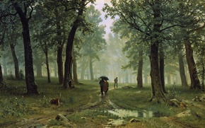 Обои пейзаж, люди, Дождь в Дубовом Лесу, зонт, Иван Шишкин, картина