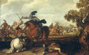Обои дерево, масло, картина, баталия, Каваллерийская Битва, Jan Martszen de Jonge