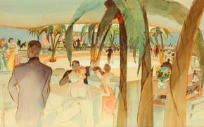 Картинка пальма, люди, рисунок, кафе, иллюстрация