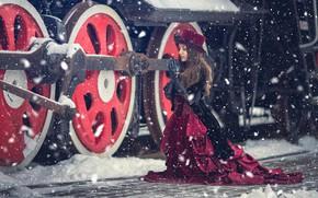 Картинка зима, девушка, снег, стиль, паровоз, ситуация, платье, мольба, Анна Каренина, Анна Джибути
