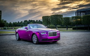 Картинка авто, небо, деревья, вечер, Rolls-Royce, Cabriolet, шикарный, Luxury