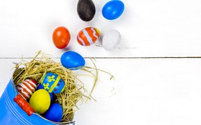 Картинка праздник, яйца, пасха, гнездо, ведро, солома, Easter, eggs