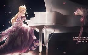 Картинка девушка, аниме, Блондинка, платье, пианино, Danganronpa