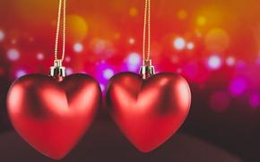 Картинка сердечки, red, love, romantic, hearts, bokeh, Valentine's Day