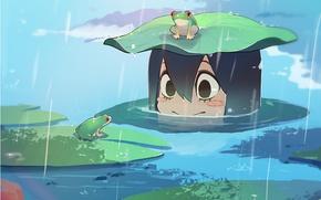 Картинка girl, rain, frog, smile, anime, water, cute, frogs, exploration