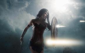 Обои strong, Diana, cosplay, shield, blade, DC Comics, cinema, warrior, gauntlet, film, armor, ken, Themyscira, brunette, ...