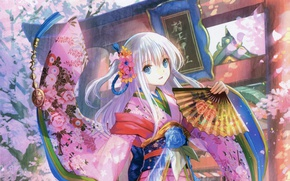 Картинка танец, Япония, веер, девочка, кимоно, голубые глаза, art, Fujiwara, длинные белые волосы, ворота тории