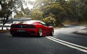 Обои Красный, Авто, Дорога, Машина, Феррари, Асфальт, 360, Суперкар, Modena, Ferrari 360, Suspension, Ferrari Modena 360