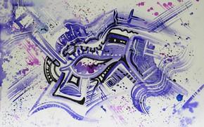 Картинка чёрный, масло, Рисунок, маркеры, гуашь, Акварель, акрил, гель, пастель., Абстракционизм, Лена Роговая, фиолетовые капли, персидский …