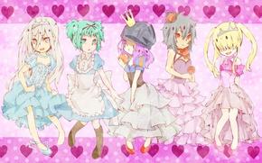Картинка корона, сердечки, парни, платья, принцессы, оборки, arcobaleno, reborn, Katekyo Hitman Reborn!, Squalo Superbi, Репетитор киллер …