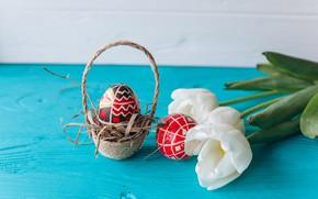 Картинка цветы, праздник, яйца, пасха, тюльпаны, корзинка, flowers, tulips, Easter, eggs, holiday, basket