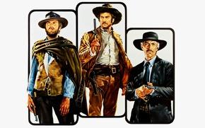 Обои cinema, film, Colt, revolver, Clint Eastwood, classic, hat, movie, Lee Van Cleef, wester, Trilogy of ...