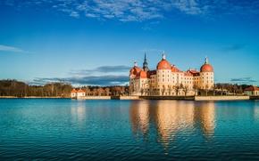 Картинка озеро, отражение, замок, Германия, Germany, Саксония, Морицбург, Saxony, Moritzburg Castle, Замок Морицбург, Moritzburg