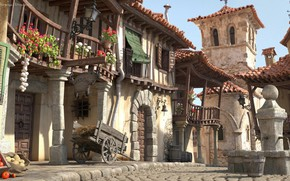 Картинка улица, дома, фонтан, колокол, Cartoon Spain