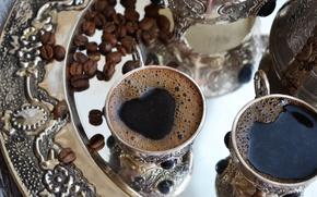 Обои сердце, чашка, кофе, напиток, пенка