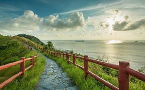 Обои пейзаж, дорожка, небо, облака, природа, перилла