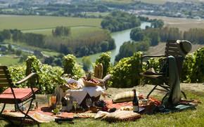 Картинка природа, река, вино, пикник