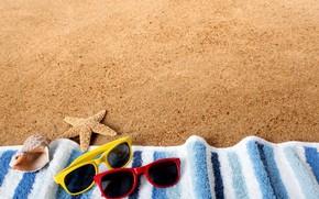 Картинка песок, море, пляж, отдых, покрывало, очки, морская звезда