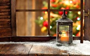 Обои окно, елка, снег, праздник, фонарь