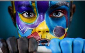Картинка взгляд, девушка, лицо, руки, разноцветное, раскрас, Иван Ковалёв
