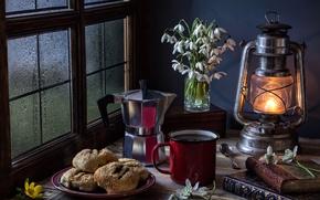 Картинка книги, лампа, кофе, печенье, окно, подснежники, кружка, натюрморт