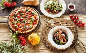 Картинка еда, тыква, креветка, пицца, рябина, салат