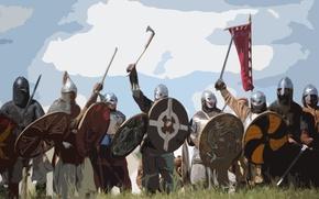Картинка небо, трава, меч, шлем, топор, щит, знамя, Варяги
