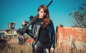 Картинка взгляд, лицо, стиль, фон, азиатка, винтовка