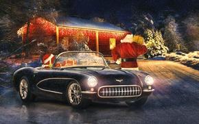 Обои классика, зима, Corvette, праздник, новый год, ретро