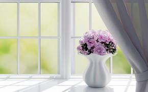 Картинка цветы, розы, окно, ваза