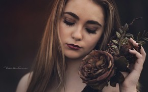 Картинка девушка, роза, Victoria Casanova