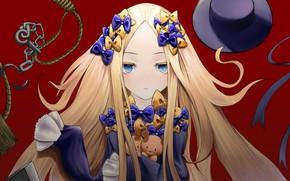 Обои Судьба великая кампания, Foreigner, Abigail Williams, аниме, ленты, арт, шляпа, девочка, Fate Grand Order