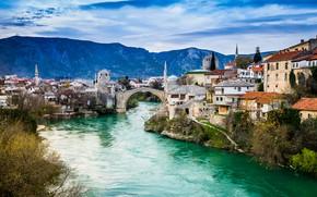 Картинка горы, мост, река, здания, дома, Босния и Герцеговина, Mostar, Мостар, Старый Мост, Neretva River, Bosnia …