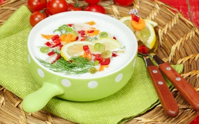 Картинка кастрюля, овощи, кефир, окрошка