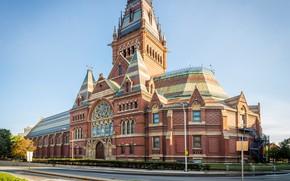 Картинка дорога, небо, солнце, улица, здание, США, Бостон, университет, Harvard University, Гарвард