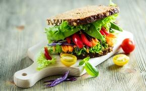 Картинка листья, свет, хлеб, доска, перец, бутерброд, овощи, помидор, салат, bread, pepper, tomato, Vegetables