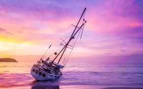 Картинка песок, море, волны, пляж, лето, небо, закат, лодка, парусник, яхта, summer, beach, sea, sunset, pink, …
