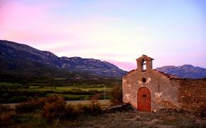 Картинка twilight, sunset, mountains, dusk, Spain, Catalonia, La Régola, Montsec d'Ares, Àger, Ermita de la Trinitat